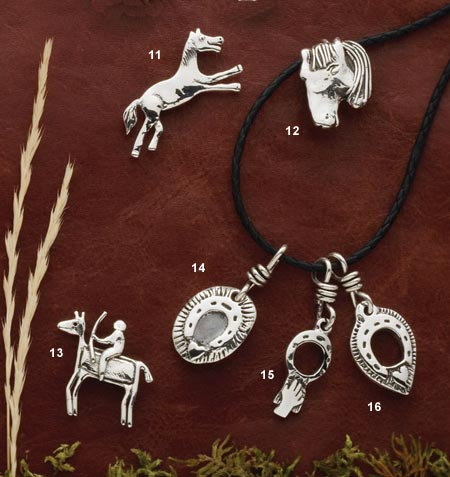 Sterling silver horse jewelry pendants pins santa fe